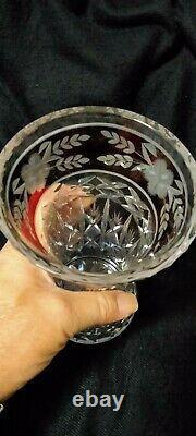 Beautiful Bohemia Crystal Cut Vase 8h Made In Czech Republic With Worn Box