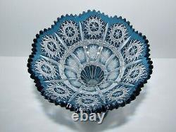 Beautiful Caesar Crystal Blue Cut to Clear Vase 831