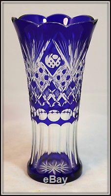 Beautiful Cobalt Cut to Clear Russian Crystal Vase (9 7/8 H x 5 W)