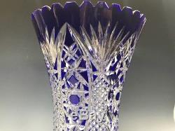 Beautiful Cobalt blue Cut to clear crystal Vase