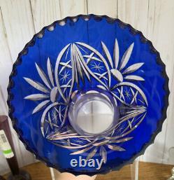 Beautiful Colbalt Cut To Clear (bohemia)glass Crystal Vase 10 1/2