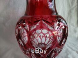 Beautiful Czech/Bohemian Cranberry Cut to Clear Crystal 8 1/8th Vase VGUC (JP)