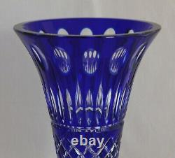Beautiful Large Bohemian Cut Glass Crystal Cobalt Blue Trumpet Footed Vase