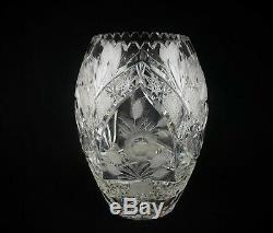 Beautiful Tall 10 1/4 Czech Bohemian Crystal Cut Vase