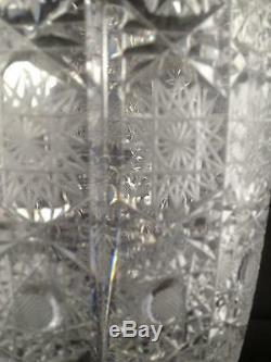 Beautiful hand cut Lace decor large crystal vase