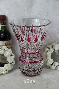 Belgian VAL SAINT LAMBERT Crystal glass ruby red clear cut diamond vase heavy