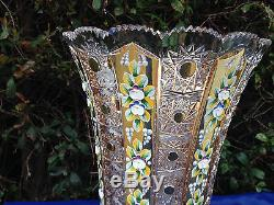 Bohemia 18k Gold Enamel Queen Lace Hand Cut 24% Lead Crystal Pedestal Vase 14