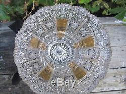 Bohemia 18k Gold Queen Lace Peke Hand Cut Crystal Pedestal Vase 10