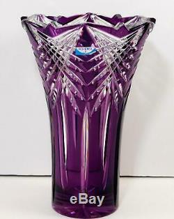 Bohemia CRYSTAL Royal Purple Cut to Clear Crystal Vase