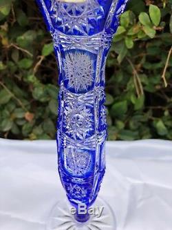 Bohemia Caesar Cobalt Blue Queen Lace Hand Cut 24% Lead Crystal Vase 9 Nib