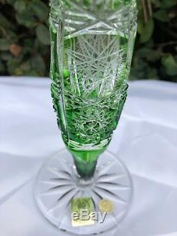 Bohemia Caesar Green Queen Lace Hand Cut 24% Lead Crystal Vase 9 Nib