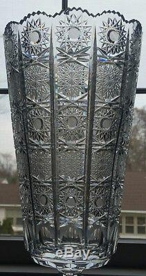 Bohemia Crystal Hand Cut 13,5'' Tall Vase, Queen-lace Cut, Czech Republic