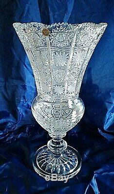 Bohemia Crystal Hand Cut 16'' Tall Vase II