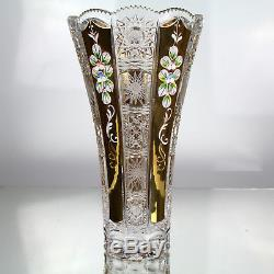 Bohemia Crystal Vase With Gold Enamel Queen Lace Hand Cut Ceramic Flowers Glass
