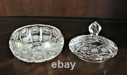Bohemia Czech Vintage Crystal Box, 5 Wide, hand cut, Queen Lace
