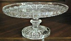 Bohemia Czech Vintage Crystal Pedestal Plate, 11 Wide, hand cut, Queen Lace