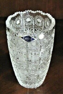 Bohemia Czech Vintage Crystal Vase, 6 tall, hand cut, Queen Lace