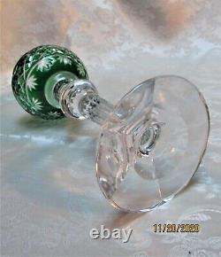Bohemian 12 Green Cut to Clear Crystal Long Stem Wine Candle Holder Votive Vase