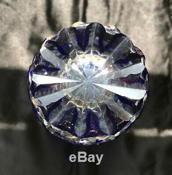 Bohemian Blue Cobalt Cut to Clear Crystal Vase Stars Diamonds 7 1/2