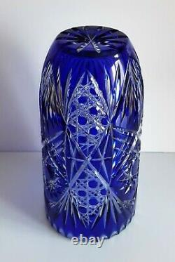 Bohemian Cased Cut To Clear Cobalt Blue Lead Crystal Vase, 10
