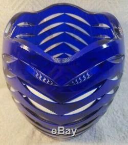 Bohemian Cobalt Blue Crystal Vase/Urn Cut to Clear Glass Flower Vase Heavyweight