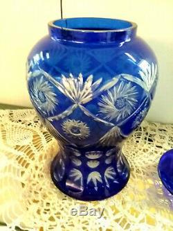 Bohemian Colbalt Blue Cut to Clear Crystal Lidded Urn Vase Jar 12