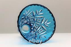 Bohemian Crystal Cased Crystal Cut Aqua Blue Vase 9 22.9cm Tall Stunning 2.7 KG