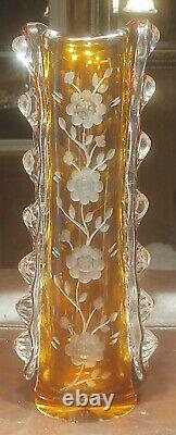Bohemian Crystal Cut To Clear Floral Amber Unique Vase 13 3/4'' High
