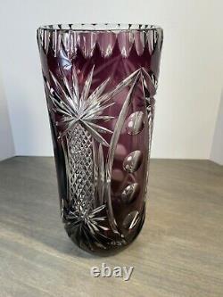 Bohemian Crystal Cut to Clear Vase Purple Amethyst 9.25