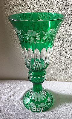Bohemian Crystal Green Cut to Clear Czech Rebublic 17 Pedestal Vase WithBox New