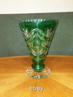 Bohemian Cut Glass Lead Crystal Vase in Emerald Green c. 1900