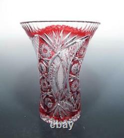 Bohemian Czech Art Glass Cranberry Lead Crystal Cased Cut Clear 10 LARGE Vase