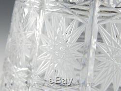 Bohemian Czech Art Glass Cut Crystal QUEEN LACE 8-1/8 FLOWER VASE Mint