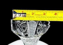 Bohemian Czech Brilliant Cut Crystal Daisy Hobstar Ladder 10 1/4 Vase