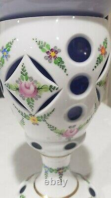 Bohemian Czech Cased White Cut to Cobalt Blue Handpainted Compote with Lid