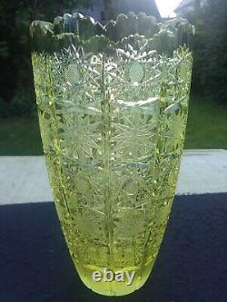 Bohemian Czech Citrene cut crystal glass vase Brunswick star lace 20.5 cm high