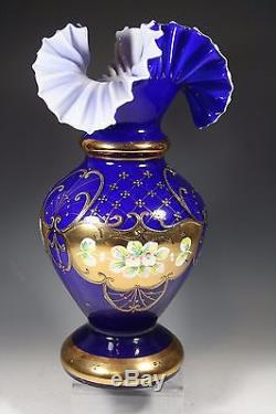 Bohemian Czech Cobalt Blue 24K Gold Enamel Hand Cut Crystal Vase