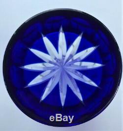 Bohemian Czech Cobalt Blue Cut To Clear Brilliant Crystal Vase