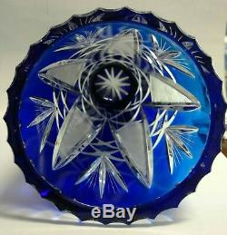 Bohemian Czech Cobalt Blue Cut To Clear Crystal 7 1/4 Vase