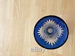 Bohemian Czech Cobalt Blue Cut To Clear Crystal 7 Vase