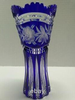 Bohemian Czech Cobalt Blue Cut To Clear Crystal Art Glass Vase