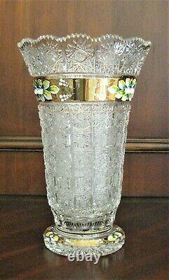 Bohemian Czech Crystal Gold 12 Tall Vase Hand Cut Queen Lace 24% Lead Glass