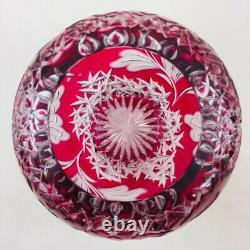 Bohemian Czech Crystal Rose Bowl Hibiscus Vase Jar Cut To Clear Cranberry Red