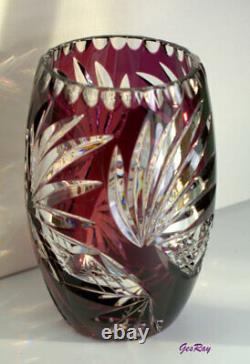 Bohemian Czech Crystal Vase, Amethyst Cut to Clear Crystal