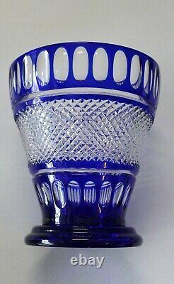 Bohemian Czech Cut to Clear Cobalt Blue Crystal Large Vase Centerpiece