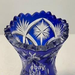 Bohemian Czech Cut to Clear Cobalt Blue Glass Crystal Vase 6.75 tall