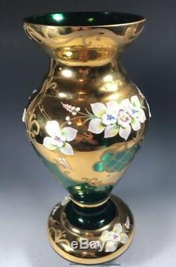 Bohemian Czech Emerald Green 24K Gold Enamel Hand Cut Crystal Vase