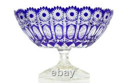 Bohemian Czech Glass Cut Crystal Etched Cased Centrepiece Vase
