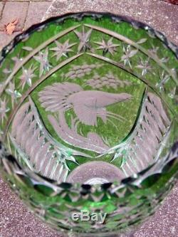 Bohemian Czech Green Cut Clear Turkey Footed Crystal Vase Artist Signed 13