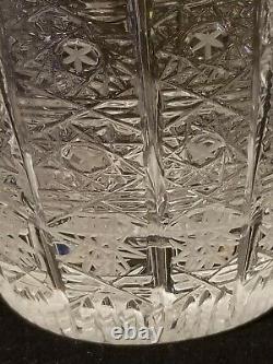 Bohemian Czech Hand Cut Glass Crystal QUEEN LACE Vase 12 X 6-1/4 BEAUTIFUL